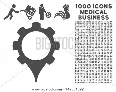 Gray GPS Settings icon with 1000 medical business glyph pictograms. Collection style is flat symbols, gray color, white background.