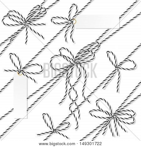 Set of black rope bakers twine bows, ribbons and tag labels on white background