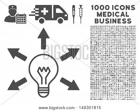 Gray Idea icon with 1000 medical business glyph pictographs. Set style is flat symbols, gray color, white background.