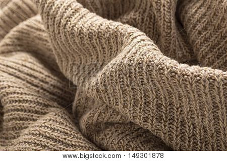 Wool sweater close up. Shallow depth of field.