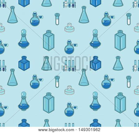 Seamless color pattern with apothecary and medical beakers laboratory flasks