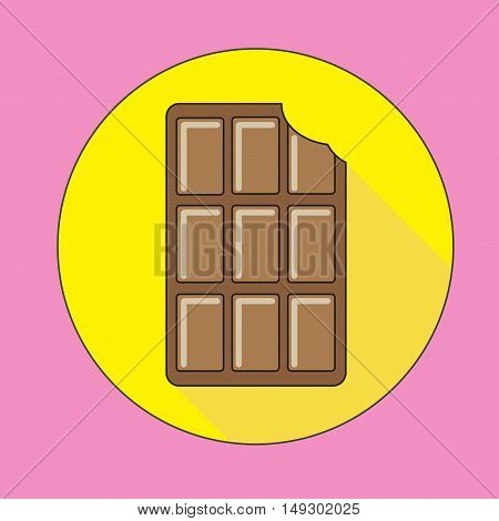 Flat chocolate icon. Milk chocolate on a yellow background