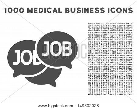 Gray Labor Market icon with 1000 medical business glyph design elements. Set style is flat symbols, gray color, white background.