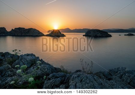 Majorca Santa Ponsa coastline at sunset in Morro d'en Pere Joan bay in Mallorca Balearic islands of Spain. Es Malgrat rocks.