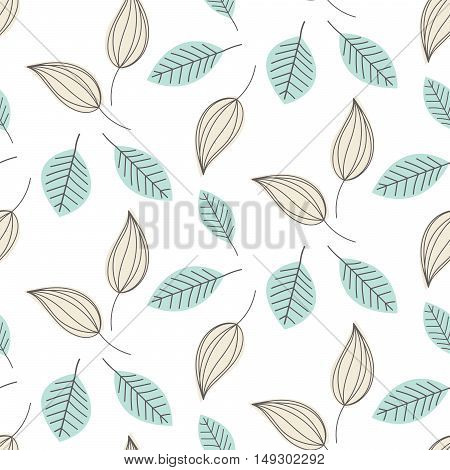 Doodle light blue leaves seamless vector pattern. Outline foliage ornament on white background.