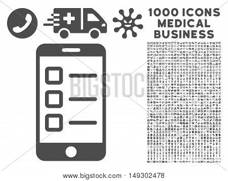 Gray Mobile Test icon with 1000 medical business glyph design elements. Collection style is flat symbols, gray color, white background.