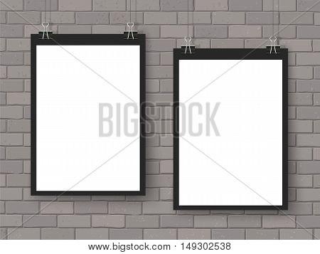 Posters On Binder Clip Mockup Grey Brick Wall Black
