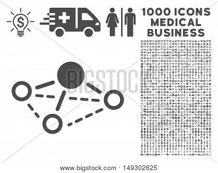 Gray Molecule icon with 1000 medical business glyph pictographs. Collection style is flat symbols, gray color, white background.
