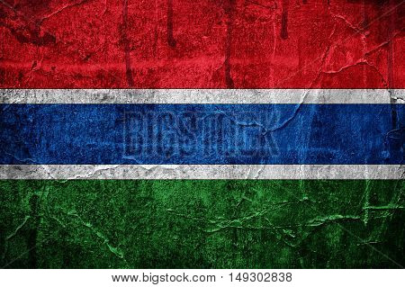 Flag of Gambia image is overlaid with grunge texture