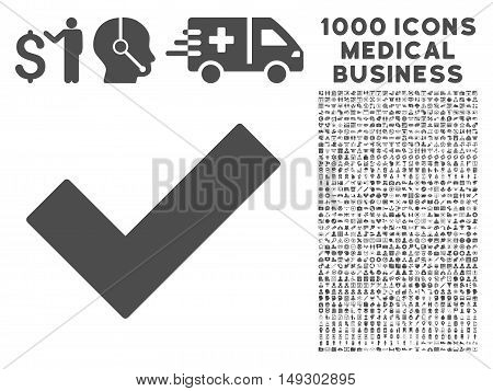 Gray Ok Tick icon with 1000 medical business glyph pictographs. Design style is flat symbols, gray color, white background.