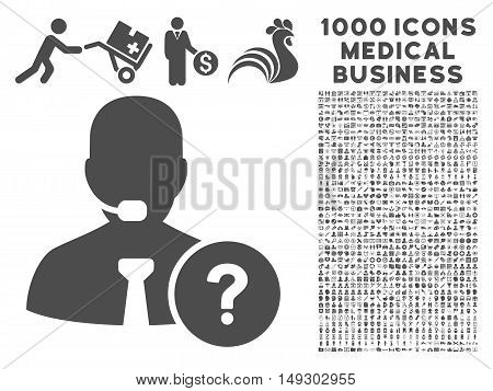 Gray Online Support icon with 1000 medical business glyph pictograms. Set style is flat symbols, gray color, white background.