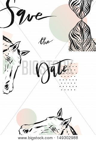 Hand drawn vector abstract modern boho tropical minimalistic save the date card template with exotic palm leaf and graphic horses heads in pastel and green colors.