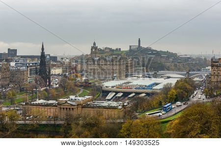 EDINBURGH, SCOTLAND - CIRCA NOVEMBER 2012: View on Edinburgh Waverley railway station from the castle esplanade.