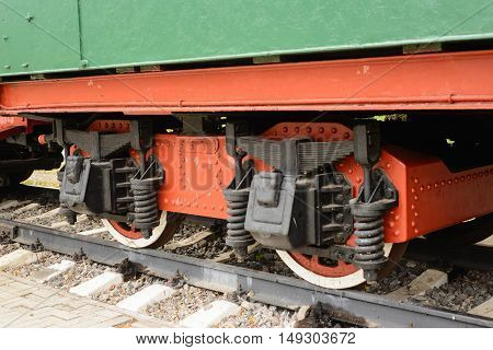 Wheels and wheel two-axle truck heavy railway freight car.