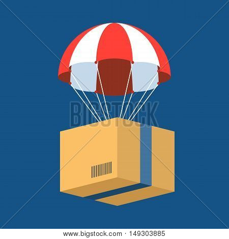 delivery service concept illustration vector, parcel with parachute for shipping, flat design vector