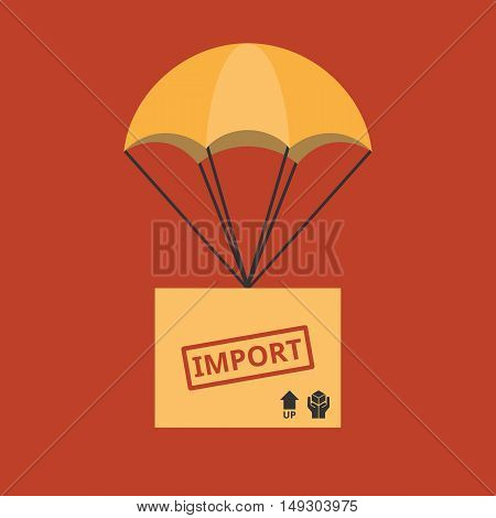 Import and delivery service concept illustration vector, parcel with parachute for shipping, flat design vector