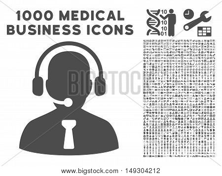 Gray Reception Operator icon with 1000 medical business glyph design elements. Design style is flat symbols, gray color, white background.
