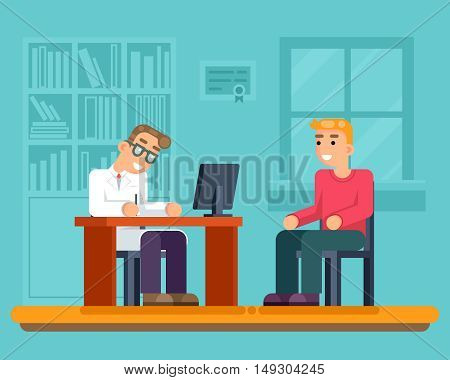 Reception doctor hospital cabinet medical services sick patient flat vector illustration
