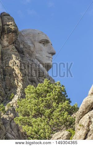 The face of George Washington on Mount Rushmore.