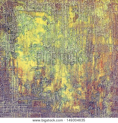 Decorative vintage texture or creative grunge background with different color patterns: yellow (beige); brown; gray; green; red (orange); purple (violet)