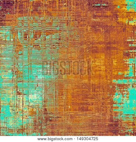 Vintage colorful textured background. Backdrop in grunge style with antique design elements and different color patterns: yellow (beige); brown; blue; red (orange); pink; cyan