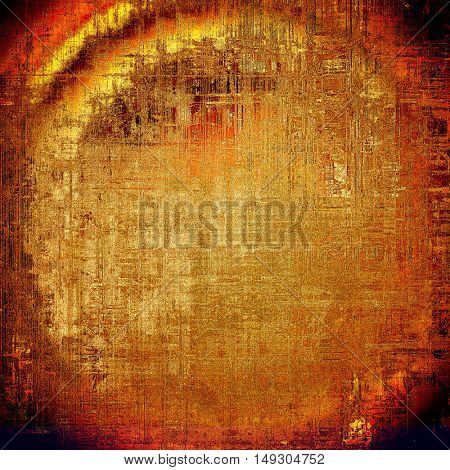 Spherical retro background with vintage style design elements, scratched grunge texture, and different color patterns: yellow (beige); brown; red (orange); black