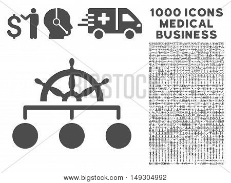 Gray Rule icon with 1000 medical business glyph design elements. Design style is flat symbols, gray color, white background.