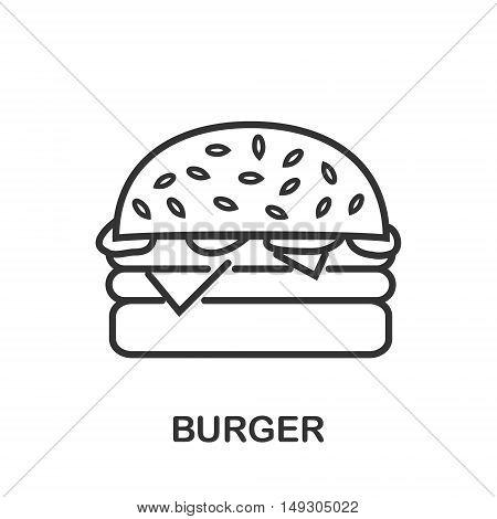 Burger icon or logo line art style. Vector Illustration.