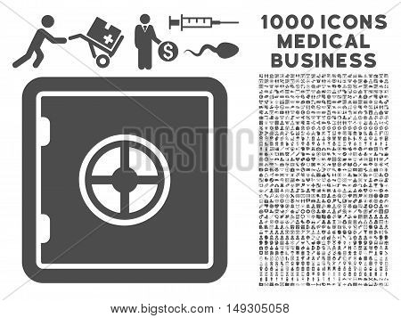 Gray Safe icon with 1000 medical business glyph pictograms. Collection style is flat symbols, gray color, white background.