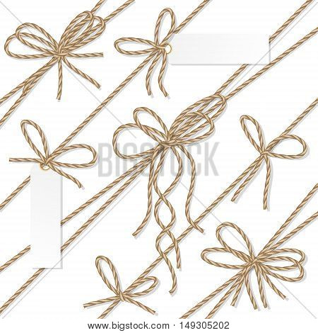 Set of rope bakers twine bows, ribbons and tag labels on white background