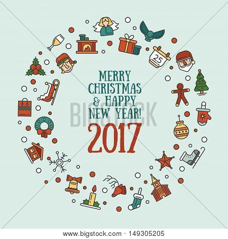 Merry Christmas and Happy New Year flat design modern vector greeting card illustration with Santa Claus, X-Mas tree, wreath and other holiday symbols