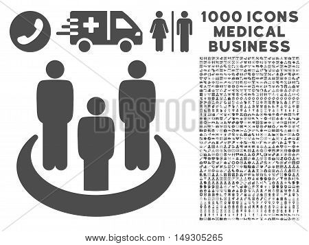 Gray Social Group icon with 1000 medical business glyph design elements. Collection style is flat symbols, gray color, white background.
