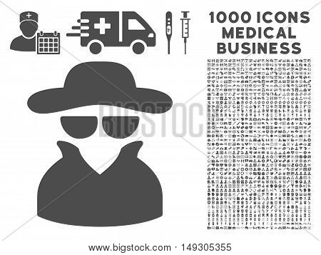 Gray Spy icon with 1000 medical business glyph design elements. Collection style is flat symbols, gray color, white background.