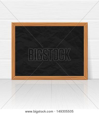Empty chalkboard in white interior, vector illustration