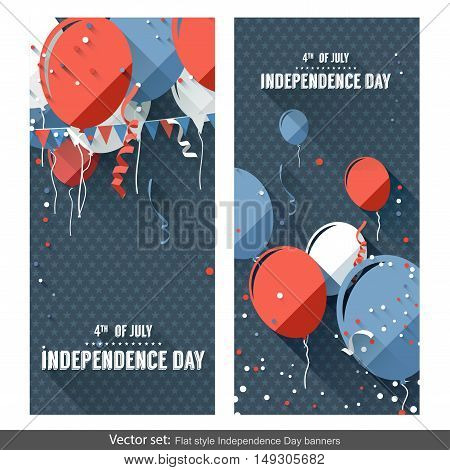 Vector set of two Independence Day vertical banners created in flat style