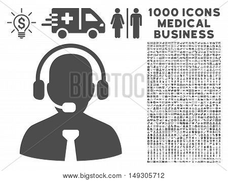 Gray Support Chat icon with 1000 medical business glyph pictographs. Collection style is flat symbols, gray color, white background.