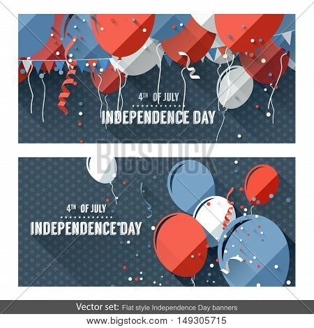 Vector set of two Independence Day horizontal banners created in flat style