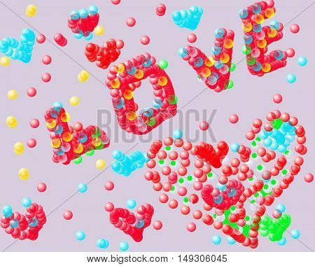 The word love is laid out bubbles on a blue background Happy Valentine's Day