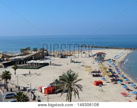 Coast of the Mediterranean sea (Netanya) Israel.