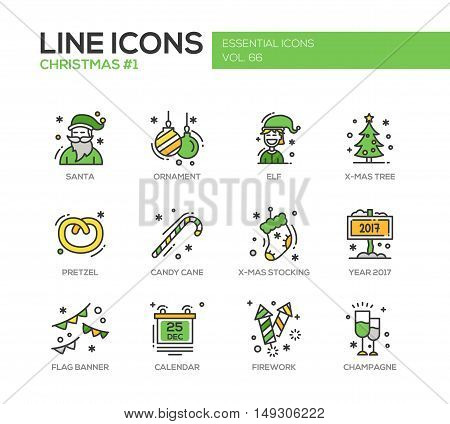 Christmas and New Year - set of modern vector line design icons and pictograms. Santa, ornament, elf, x-mas tree, pretzel, candy cane, stocking, year 2017, flag banner, calendar, firework, champagne
