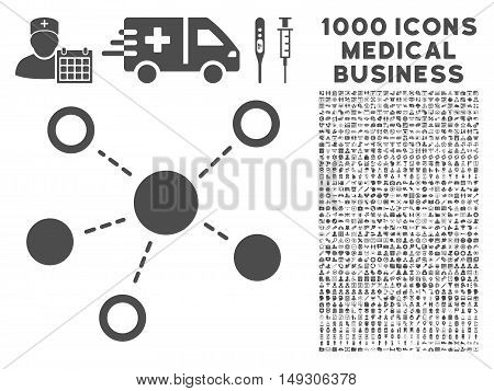 Gray Virtual Links icon with 1000 medical business glyph design elements. Design style is flat symbols, gray color, white background.