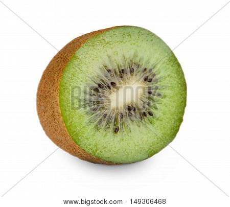 One fresh kiwi half isolated on white background. Closeup image of sweet exotic tropical kiwifruit core cut, healthy natural organic food