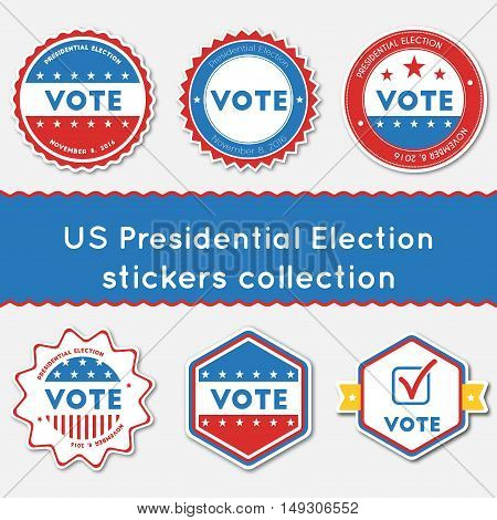 Us Presidential Election Stickers Collection. Buttons Set For Usa Presidential Elections 2016. Colle