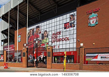 LIVERPOOL UK 17TH SEPTEMBER 2016. Liverpool Football Club's new giant mural for the 2016/17 season at the Kop end of the stadium