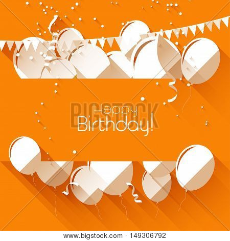 birthday background with paper balloons on orange background and with place for text