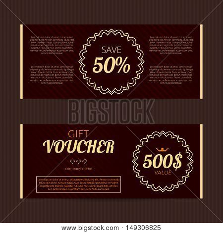 Gift voucher with luxury elegant design. Vector template for coupon or discount card.Noble tickets.