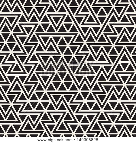 Vector Seamless Black And White Jumble Triangle Lines Pattern. Abstract Geometric Background Design