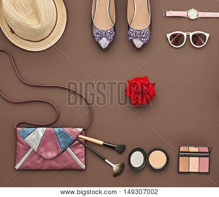 Trendy fashion Design Outfit. Fashion Lady Accessories Set. Essentials Fashion Cosmetic Makeup. Stylish Glamor Handbag, Trendy Shoes, Sunglasses Watches Rose. Top view. Creative fashion Overhead