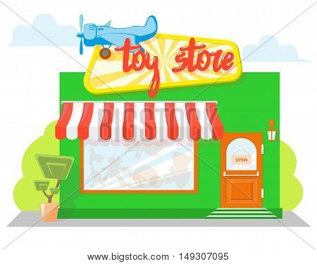 Facade toy store with a signboard awning and silhouettes toys in shopwindow. Concept front store for design banner or brochure. image in a flat design. Vector illustration isolated on blue background