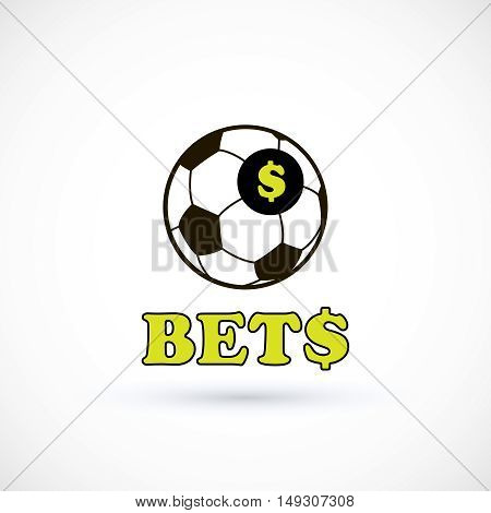 Sport betting ball soccer logo. Vector Illustration Isolated On White Background